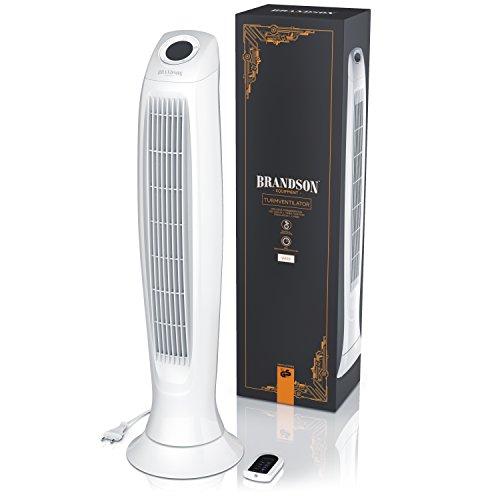 Brandson – Turmventilator mit Fernbedinung | Säulenventilator inkl. Oszillation | 86 cm | 60W | Ventilator mit 3 Geschwindigkeitsstufen Timer | LED-Display | leises Betriebsgeräusch | weiß Bild 5*