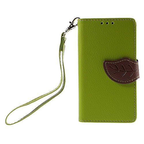 [A4E] Handyhülle passend für Sony Xperia Z5 Compact Kunstleder Tasche, Flip Cover, seitlicher Magnetverschluss, Standfuß, Kreditkartenfächer, Handschlaufe, mit floralem Blatt Muster (grün, braun)