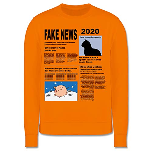 Shirtracer Karneval & Fasching Kinder - Fake News 2020 Kostüm Newspaper Zeitung - 104 (3/4 Jahre) - Orange - JH030K - Kinder Pullover