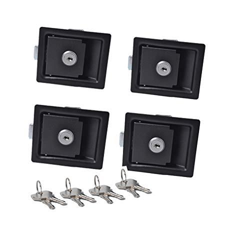 BeIilan 4PCS Schwarz Paddle Eintrag Tür-Verriegelung und Schlüssel Kompatibel für Werkzeugkastenschloss Trailer Caravan LKW (Eintrag Türschloss-set)