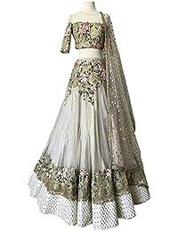 Swara Fashion Women's Nylon Net With Blouse Piece Lehenga Choli(SFP-278_Off White_Thread Work)