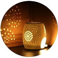 Ecooe Lámpara de aceites Esenciales para aromaterapia cerámica Quemador de Incienso Blanco