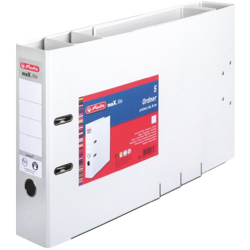 Herlitz 9942681 Ordner maX.file protect A4 8cm weiß, PP-Kunststoffbezug/Papier hellgr.besch. 5er Packung - 2