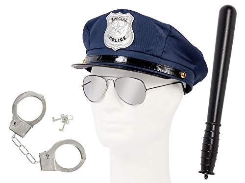Set di Travestimento da Poliziotto | Blu | KV-127 | 4 Pezzi | Cappello, Occhiali da Sole, Manette, Manganello | per Carnevale | Halloween | Festa a Tema | Adulti | Uomo | Donna