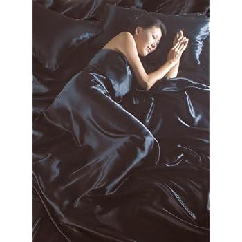 Lussuoso set di biancheria da letto matrimoniale, in raso di seta, colore: nero, set da 6: copripiumino, lenzuolo con gli angoli e 4federe copricuscino.