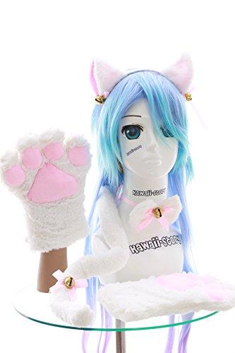 (C-20 weiß Katzen Pfoten Handschuhe Schwanz Halsband Ohren Haarreif Set Lolita Maid Cosplay)