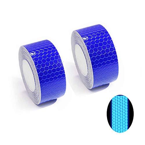 Tuqiang® Reflektierende Band Selbstklebende Sicherheit Warnung Conspicuity Nacht Reflektor Streifen Tape Film Aufkleber 2.5cm×3m Blau 2 Stück (Fender Tape 3m)