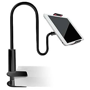 Supporto per Cellulari Tablet PC, AFUNTA Collo Oca Pigra Stand Holder per 4- 7.2 Pollici, 27.5 inch Braccio Flessibile per IPad iPhone 6 plus / 6 / 5s / 5 / 4S / 4, dispositivi GPS, Supporto Mobile Attacco per Letto, Scrivania, Camera da letto, Ufficio, Bagno, Cucina (Nero)