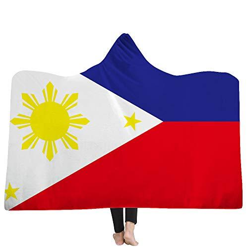 DOTBUY Decke Mit Kapuze, Nationalflagge kapuzendecke Erwachsenes Kind Sofa Dicke warme Mantel Umhang komfortabel tragbar Werfen Plüschdecke. (150 x 200cm, Philippinen) - Philippinen Mantel