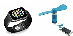 MIRZA Smart Watch & Mobile Fan for SAMSUNG G 9198(OTG Mobile Fan & Bluetooth A1 Smart Watch Wrist Watch Phone with Camera & SIM Card Support Hot Fashion New Arrival Best Selling Premium Quality Lowest Price with Apps like Facebook,Whatsapp, Twitter, Sports, Health, Pedometer, Sedentary Remind & Sleep Monitoring, Better Display, Loud Speaker, Microphone, Touch Screen, Multi-Language, Compatible with Android iOS Mobile Tablet-Assorted Color)