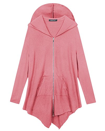 Urbancoco Damen Lose Zip Hooded Sweatshirt Jacke (XL, Rosa) (Sweatshirt Zip Rosa Hoodie)