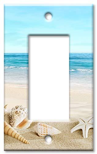 Wandplatte mit Schalter, Motiv Muscheln am Strand, übergroße Größe EINZEL ROCKER Mehrfarbig -