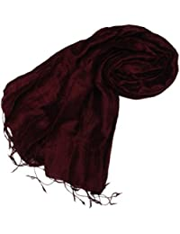 Kuldip Pashmina-Schal aus 100% Seide, in vielen verschiedenen Farben erhältlich, - Deep Burgundy Red - Größe: One Size Fits All