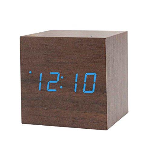 Sound Control Holzplatz LED-Wecker Desktop-Tabelle Digital-Thermometer-Timer USB AAA Datumsanzeige Regard (Digital-thermometer-desktop)
