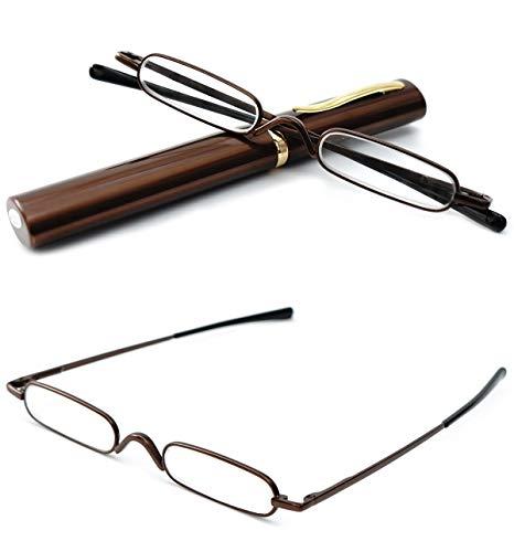 VEVESMUNDO® Lesebrille Damen Herren Federscharnier Metall Schmal Klein Mini Leicht Lesehilfe Sehhilfe Klare Arbeit Brillen Stärke mit Etui (Braun, 1.5)