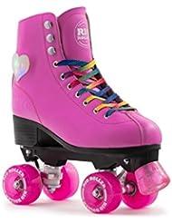 Rio Roller Quad luces figura patines–Rosa UK 3/EU 35.5