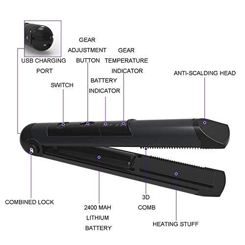 Alisador de pelo inalámbrico recargable USB Mini plancha plana con temperatura ajustable portátil alisador para viajes/hogar