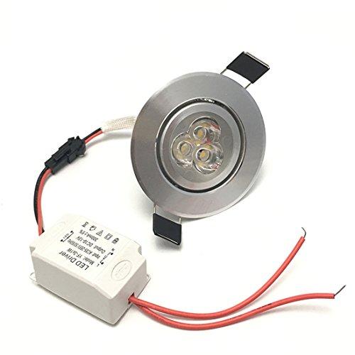 Lámpara LED downlight, de LEDIARY; redonda, empotrable, 110 - 265 V y 3 W; tamaño del agujero de corte 50, 55, 60 mm; ángulo ajustable, lámpara de techo, metal, Daylight White 3.00W