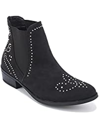 Black Faux Suede Stud Detail Chelsea Ankle Boot