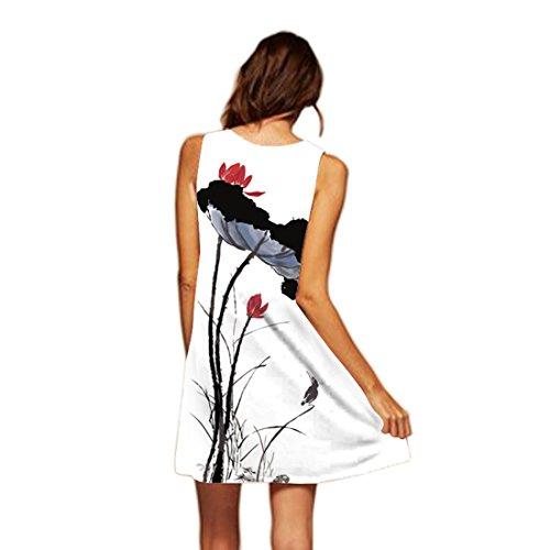 Shinekoo Damen Neueste Kleid Sommer Beiläufig Blumenmuster Kleider ...