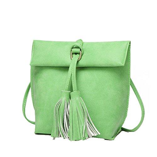 Frauen Mode Einfache Schnalle Knopf Frau Fransen Umhängetasche Handtaschen-Taschen-Geldbeutel Green