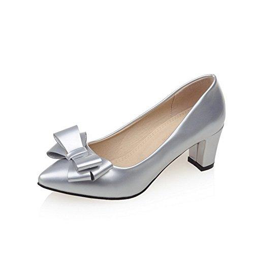 AgooLar Damen Rein PU Mittler Absatz Rund Zehe Ziehen auf Pumps Schuhe, Silber, 42