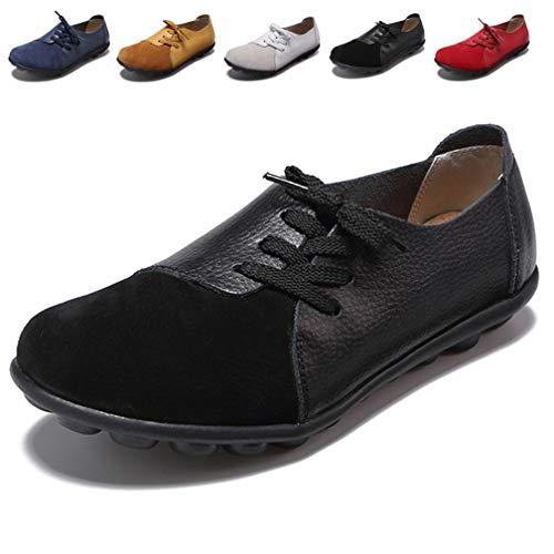Hishoes Damen Mokassin Bootsschuhe Leder Loafers Fahren Flache Schuhe Halbschuhe Slippers Erbsenschuhe, 42 EU=Etikettengröße 42 - Damen Leder Halbschuhe Schuhe
