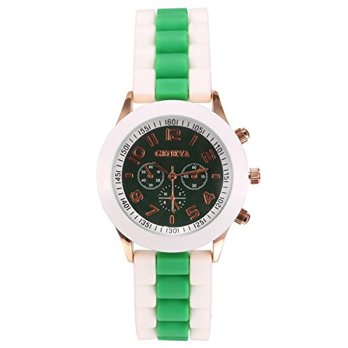 ZEARO Damen Uhren Elegant Bunt Quarz Armbanduhr mit 3 Farbe Silikon Gurt