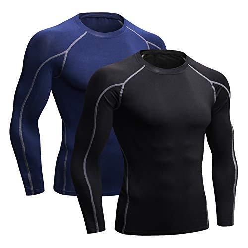 Niksa 2 Pièces T-Shirt de Sport Compression Homme Maillot Manches Longues Vetement de Fitness Football Jogging Cyclisme(Blue Marine+Noir-Gris) M 1059