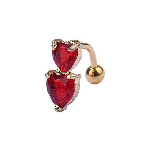 ODJOY-FAN 1.5cm Kristall Nabel Schnalle Umkehren Bar Bauch Ring Gold Karosserie Piercing Taste Nabel Zwei Herz (Rot,1 PC)