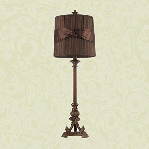Gothic Nachttisch (European Palace Hölzerne Kunst Kupfer Stehleuchte Gothic Stoff Nachttisch Lampe Palace Retro High High Lampe Licht- Hoch 78cm, Breite 25cm Tischlampe -E27 (nicht enthalten))