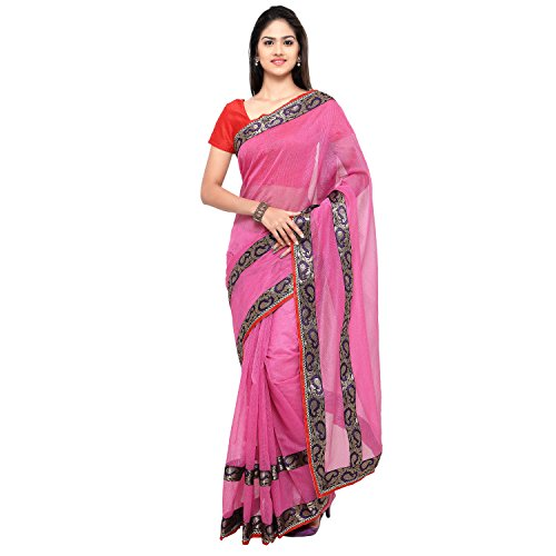 Sarvagny Clothing Women's Pink Kota Cotton & Silk Cotton Blend Fashion Saree with Blouse Piece  available at amazon for Rs.399