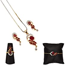 Zeneme American Diamond Traditional Fashion Jewellery Combo of Necklace Pendant Set/Ring/Bracelet with Earring for Women/Girls (Red)
