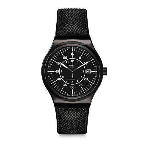 Swatch Herren Analog Automatik Uhr mit Leder Armband YIB400