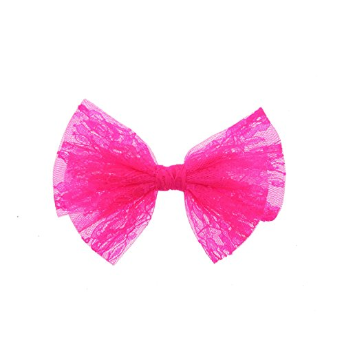 Zac's Alter Ego® Neon Pink Lace Double Bow on Concord Clip