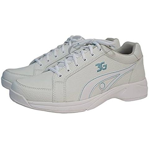 Zapatos de bolos para mujer 3 G chivatos para diestros colour blanco/azul blanco, azul Talla:US 6 (36)