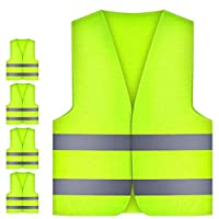 JRing 5Pack Hi Vis Waistcoat, Unisex Hi Vis Vest for Safety and Emergencies -Standard Size/Yellow