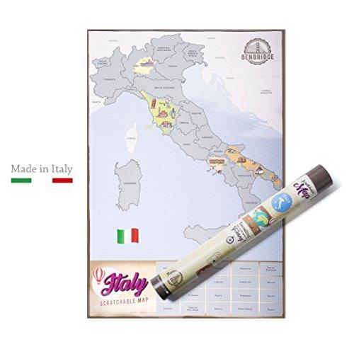 Scratchable Map Benbridge | L'unica Mappa Made in Italy | Mappa dell'Italia da grattare | Viaggia e Gratta Via la Regione che hai Visitato Personalizzando la Tua Mappa !!