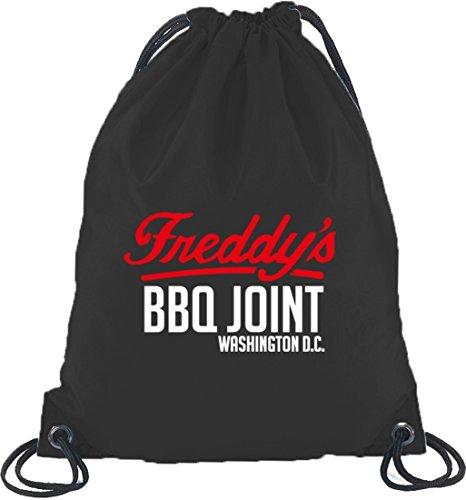 Shirtstreet24, HOC - Freddys BBQ Joint, Turnbeutel Rucksack Sport Beutel Schwarz