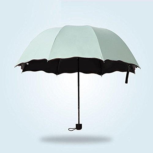 AchidistviQ Parapluie Cadeau Mode Femme Ombrelle Anti UV Fleur 3Pliant Coupe-Vent Soleil/Pluie Parapluie Cadeau Vert Menthe