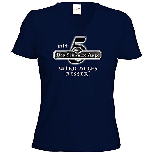 getshirts - Das Schwarze Auge - T-Shirt Damen V-Neck - Sprüche - Mit DSA5 wird alles besser Dunkelblau