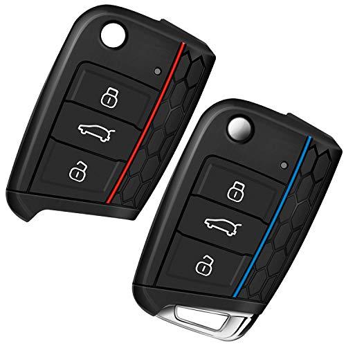Autoschlüssel Hülle Schlüssel Hülle VW Golf 7 Schlüsselhülle Cover Yosemy 3 Tasten Auto Schlüssel Silikon Cover 2 Stück Rot + Blau