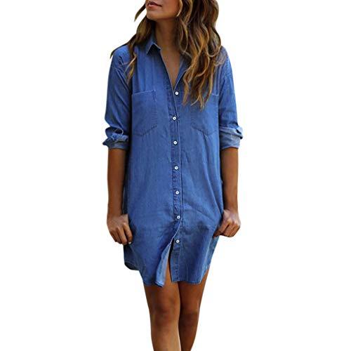 GreatestPAK Damen Hemd Lässig Lange Ärmel Vintage Blau Jeanshemd Denim Oberteile Lang Jahrgang Jeans Bluse -