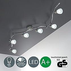 Faretti LED a soffitto orientabili I plafoniera moderna a soffitto per l'illuminazione da interno I 6 luci I corpo metallo e vetro I incl. lampadine da 5 W I 230 V I E14 I IP20