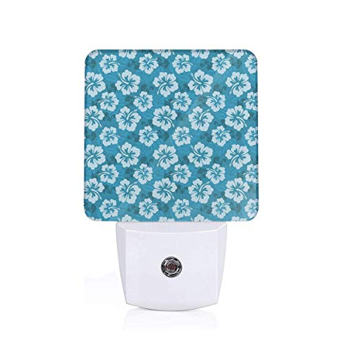 Hawaiian Hibiscus Flowers And Leaves Fashion Fabric Design Style Artwork Print Plug-in LED Night Light Lamp with Dusk to Dawn Sensor, Night Home Decor Bed Lamp Hibiscus Night Light