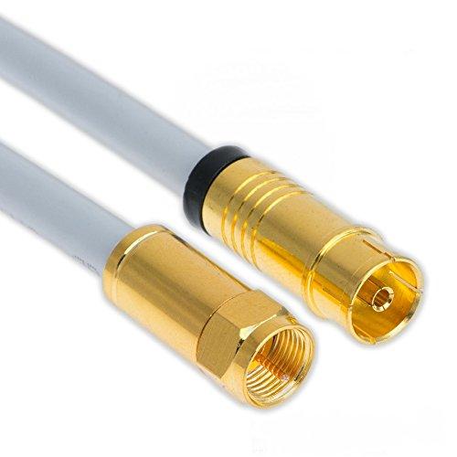3m Koaxial Sat Antennen Kabel 135dB F-Stecker auf Koax Buchse / Kupplung Vergoldet Digital Class A+ Antennenkabel 3D 4K Ultra HD (3m, Weiß)