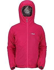 Rab Strata – Chaqueta con capucha para mujer, térmica, transpirable con tecnología Polartec Alpha, color Rojo - jam, tamaño 14