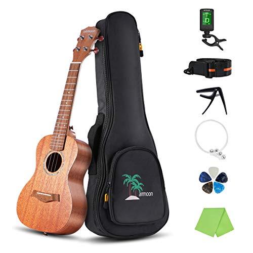 """ammoon Konzert Ukulele Set, Tenor Ukulele, 23 Zoll Mahagoni Ukulele Hawaiische Gitarre für Anfänger Erwachsene Pack mit Stimmgerät, Reinigungstuch, Ersatzsaiten, Tasche Gurt und 5 Plektren Gig (23\"""")"""