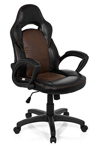 hjh OFFICE 621868 silla gaming RACER VINTAGE I piel sintética marrón, ergonómica, buen acolchado, con apoyabrazos, cómoda, inclinable, ajuste de altura, fácil de cuidar, resistente, buen precio