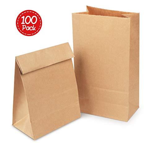 Absofine 100 Papiertüten Tütchen braune Papier-Beutel mit Boden Mini Geschenktüten 14 x 26 x 8 cm 70 gr./m² Kraftpapier Tüten für Geschenktüten Ostertüten Brote Keks Süßigkeiten Nüsse verpacken